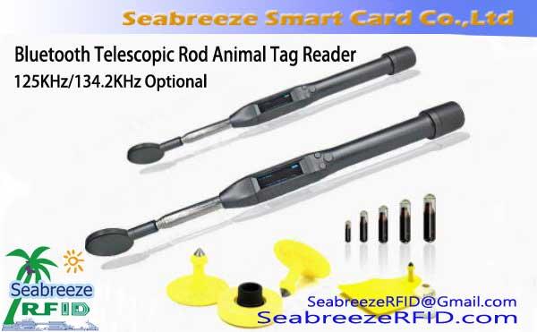 Bluetooth 125KHz/134.2KHz Telescopic Rod Animal Tag Reader, Bluetooth Animal Tag Scanner