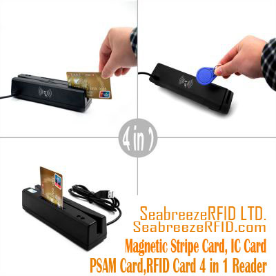 Magnetic Stripe Card IC Card PSAM Card M1 Card 4 在 1 讀者, Magnetic Stripe Card IC Card PSAM Card M1 Card Multi-function card Reader, SeabreezeRFID LTD.