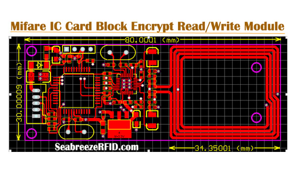 Mifare IC-kort Block Krypter Read Write Module, Mifare 1K S50 Card Block Encrypt Read Write Module, SeabreezeRFID LTD.