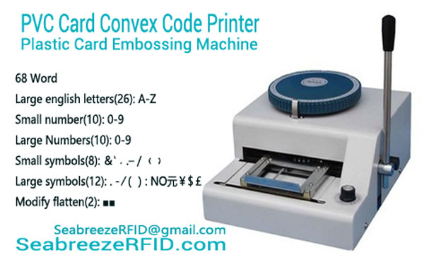 Kaart van pvc Convex Code Printer, PVC Plastic Card Embossing Machine