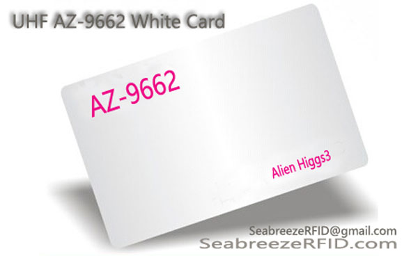UHF AZ-9662 инкрустация Card, Alien H3 далечни разстояния UHF Card, ISO18000-6C White Card, Alien Higgs3 Card