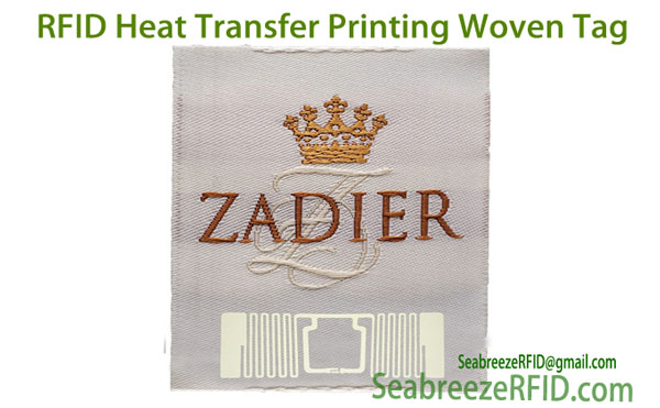 UHF Heat Transfer Printing Woven Tag, RFID Heat Transfer Printing Fabric Tag