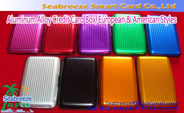 Europese & American Styles Aluminium Credit Card Box, Stainless Steel Credit Card Box