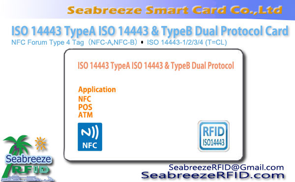 ISO 14443 TypeA ISO 14443 TypeB Dual Protocol Card, RFID Contactless Universal Card