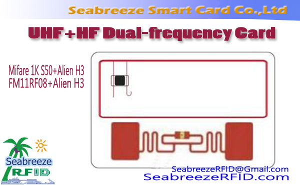 UHF + HF dual-frequency Card, Alien H3 + Mifare 1K S50 Dual-frequentie Card