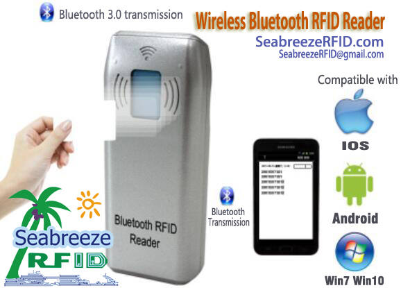 Wireless Bluetooth Transmission RFID Reader, Wireless Bluetooth RFID Reader, Wireless Transmission RFID Reader, Wireless RFID Reader, Wireless ID Card Reader, from SeabreezeRFID.com