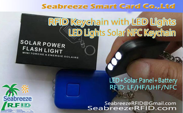 RFID Keychain með LED Lights, LED Lights Sól NFC Keychain