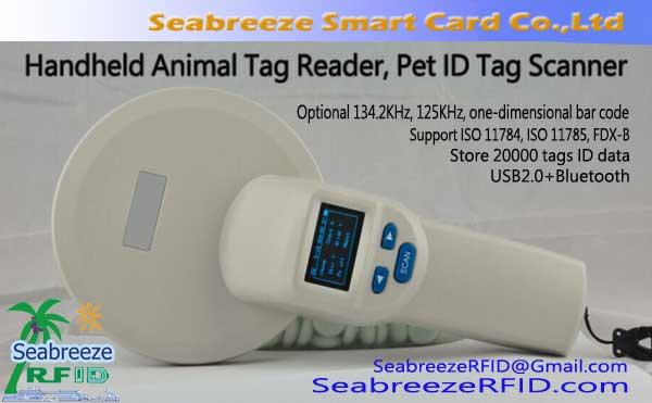 125KHz/134.2KHz Handheld Animal Tag Reader, Pet ID Tag Scanner, ISO11784/11785 Protocol Standard, Support FDX-B