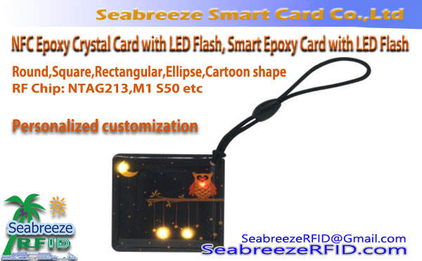 RFID Smart Epoxy kaart met LED flits, NFC Epoxy Crystal kaart met LED flits, LED flits Smart Epoxy Card