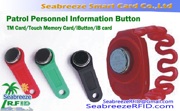 RFID TM Card, iButton, iB kort, Patrol Personal Information Button