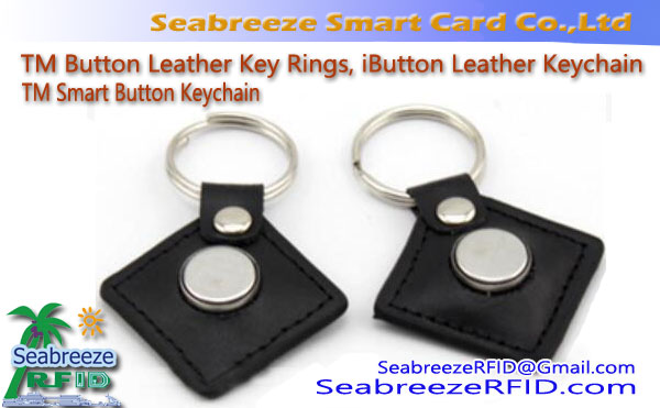 TM Button Leather Key Rings, iButton Leather Keychain, TM Smart Button Keychain
