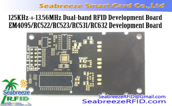 125KHz + 13.56MHz Kétsávos RFID Development Board, EM4095 / RC522 / RC523 / RC531 / RC632 Development Board