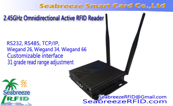 2.45GHz Omnidirectional Active RFID Reader dengan komunikasi TCP / IP