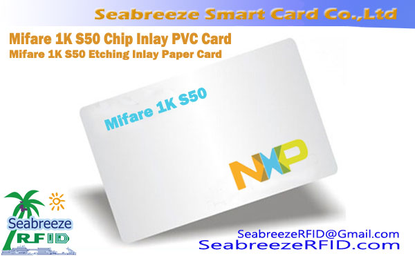 Mifare 1K S50 Chip Inlay PVC-kort, Mifare 1K S50 Ætsning Inlay Papir Card