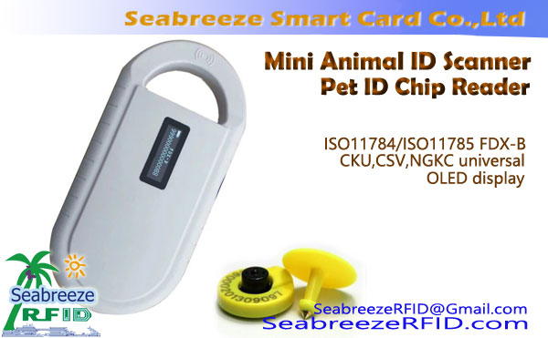 Mini ID Animal Scanner pre ISO11784, ISO11785, FDX-B, Scanner čku Association, CSV, NGKC Universal, Mini Pet ID Reader