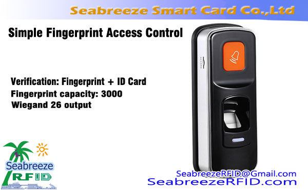Simple Fingerprint Access Control Machine, თითის ანაბეჭდის + ID Card Access Control, Wiegand26 Fingerprint ID Card Reader