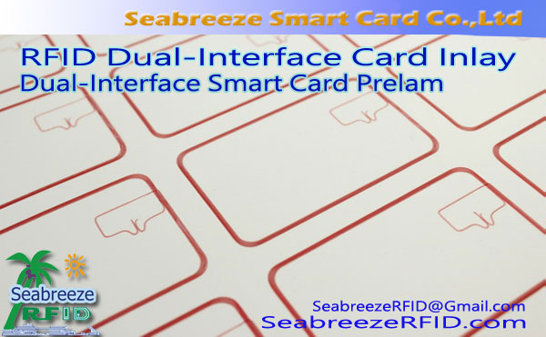 RFID Dual-Interface Card embutido, Dual-Interface tarjeta inteligente Prelam