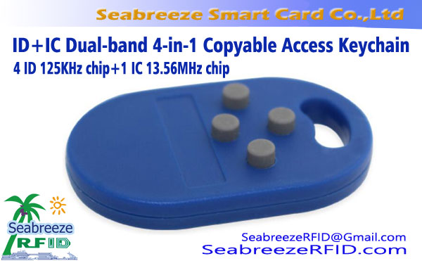 ID + IC Dual-band 4-in-1 copiabile Accesso Portachiavi, 125KHz multi-in-one di ascensore UID ripetutamente Cancellato Codice portachiavi