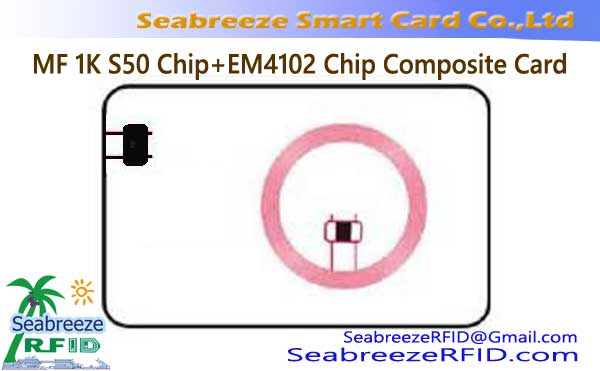 MF 1K S50 Chip + EM4102 Chip Saamgestelde Card, MF 1K S50 Chip + ID Chip Dual Frequency Card