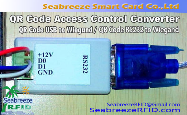 QR Code Access Control Converter, QR Code USB to Wiegand, QR Code RS232 to Wiegand, default output WG26/WG34
