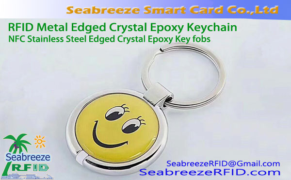 RFID Metal Wrapping Tepi Crystal Epoxy Keychain, Wrapping logam bermata Amber Tag
