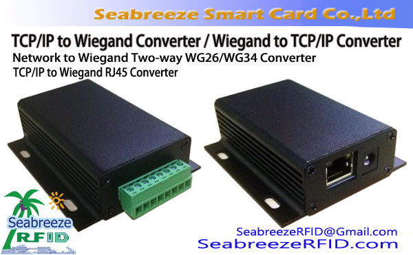 Wiegand to TCP/IP Converter, Network to Wiegand Two-way WG26/WG34 Converter, Network to Wiegand RJ45 Converter