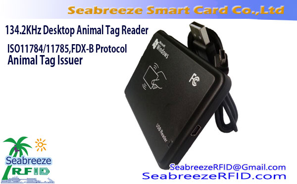 134.2KHz Desktop Animal Tag Udsteder, ISO11784 / 11785, FDX-A / FDX-B-protokollen Animal Tag Reader