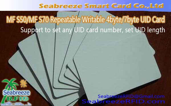 Customized MF S50/MF S70 Repeatable Writable 4byte UID Card, 7byte UID Card