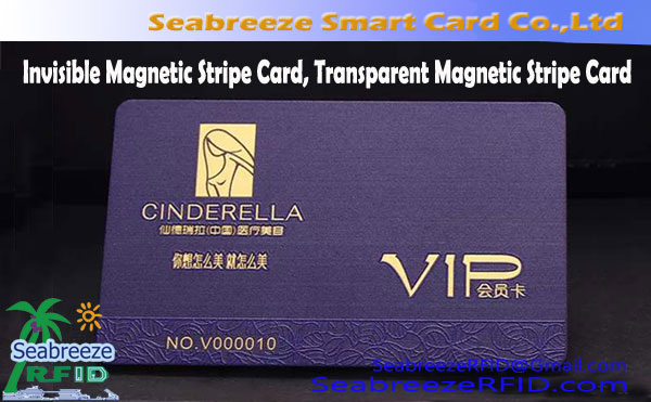 Invisible Magnetic Stripe Card, Transparent Magnetic Stripe Card