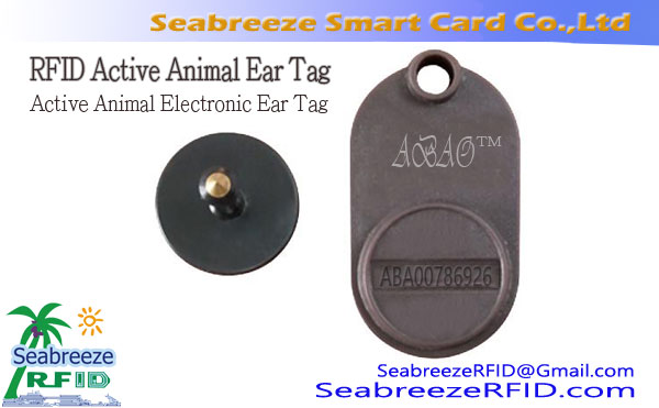 RFID Animal Active Ear Tag, Active Animal elektronike Ear Tag