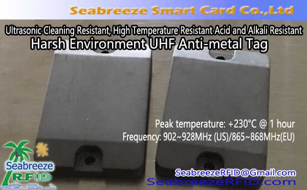 Ultrasonic limpeza resistente, High Temperature resistente aos ácidos e álcalis Harsh Environment UHF Anti-de metal Tag
