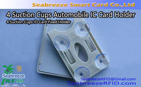 4 Pemegang hisap Piala Automobile IC Card, 4 Suction Piala ID Card Holder Tetap