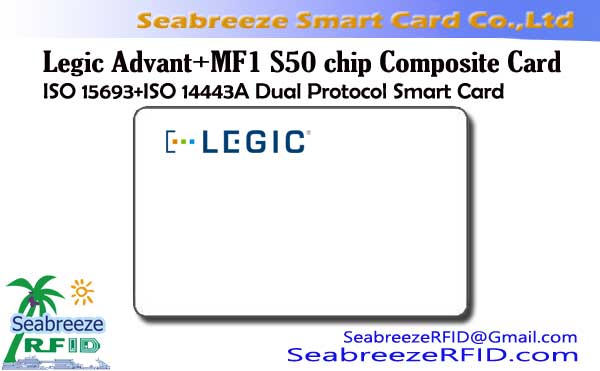 Legic Advant + MF1S50 Composite Card, ISO 15693 + ISO 14443A Dual pöytäkirjan Smart Card