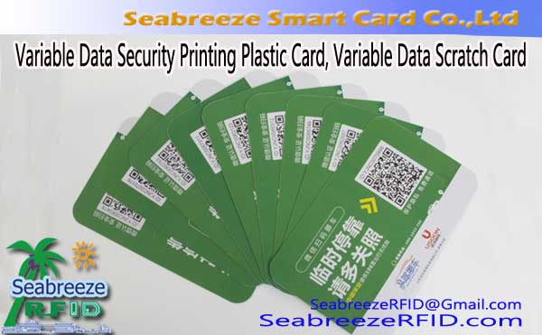 Variable Data Security Printing Plastic Card, Scratch Card proměnná data, Variabilní QR Code Printing Tag