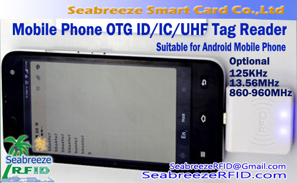 Mobile Phone ID, IC, UHF Tag Reader, Smart Phone OTG UHF Miniature Reader, suitable for Android Mobile Phone, od Seabreeze čipových kariet Co., Ltd..