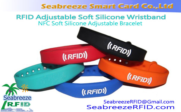 RFID Adjustable Soft Silicone Wristband, NFC Soft Silicone Adjustable Bracelet