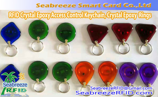 RFID Crystal Epoxy Access Kontrolléiere Keychain, RFID Crystal Epoxy Smart Rings