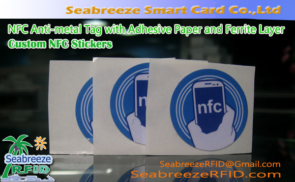 Custom NFC Stickers, NFC Anti-metal Tag med selvklebende papir og Ferrite Layer