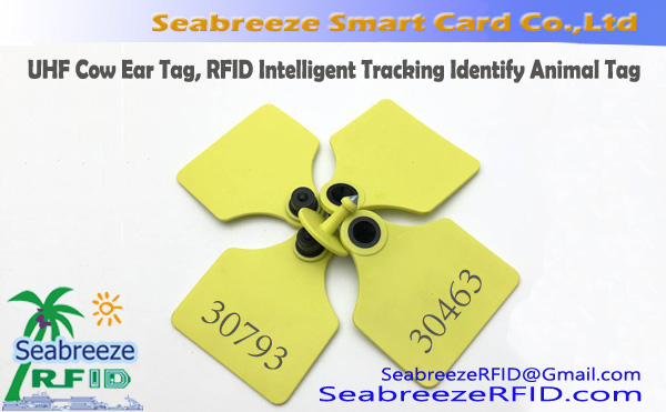 UHF Cow Ear Tag, RFID Intelligent Tracking Identify Animal Management Tag