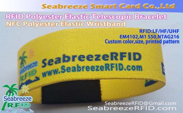 RFID Polyester Elastic Wristband, NFC Polyester Elastic Wristband, RFID Polyester Elastic Telescopic Bracelet